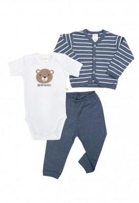 Kit 3 peças body, calça e casaco Best Club Baby listrado azul jeans e branco com bordado urso