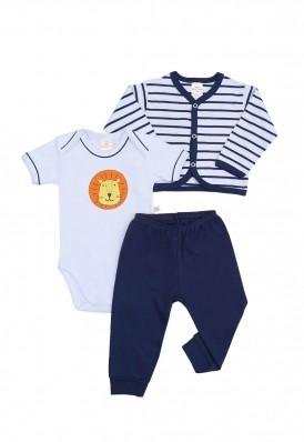 Kit 3 peças body, calça e casaco Best Club Baby listrado azul marinho e branco com bordado leão