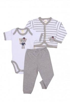 Kit 3 peças body, calça e casaco Best Club Baby listrado branco e cinza com bordado urso