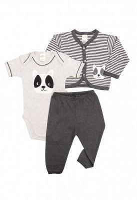 Kit 3 peças body, calça e casaco Best Club Baby listrado cinza claro e grafite com bordado cachorro