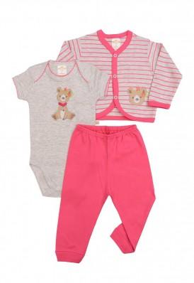 Kit 3 peças body, calça e casaco Best Club Baby listrado cinza claro e pink com bordado urso