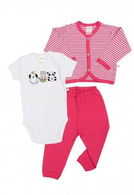 Kit 3 peças body, calça e casaco Best Club Baby listrado pink e branco com bordado bichos