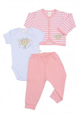 Kit 3 peças body, calça e casaco Best Club Baby listrado rosa e branco com bordado cachorro
