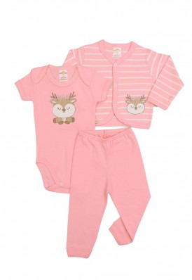 Kit 3 peças body, calça e casaco Best Club Baby listrado rosa e creme com bordado rena