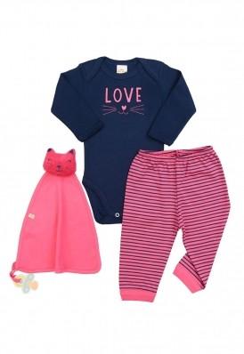 Kit 3 peças body, calça e cheirinho Best Club Baby azul marinho e pink com bordado gato