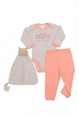 Kit 3 peças body, calça e cheirinho Best Club Baby cinza claro e salmão com bordado urso