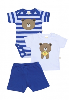 Kit 3 peças body, camiseta e bermuda Best Club Baby azul e branco com bordado urso