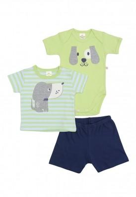 Kit 3 peças body, camiseta e bermuda Best Club Baby verde e azul marinho com bordado cachorro