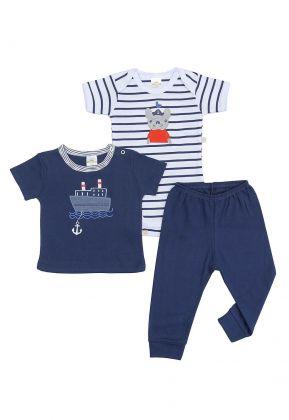 Kit 3 peças body, camiseta e calça Best Club Baby azul marinho e branco com bordado marinheiro