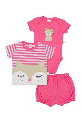 Kit 3 Peças Body, Camiseta e Shorts Best Club Baby Branco e Pink com Bordado Raposa