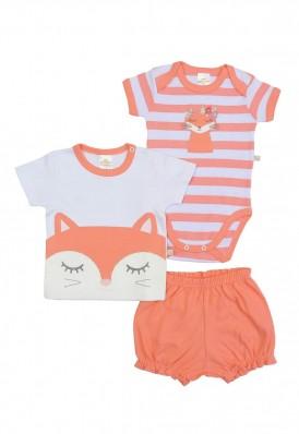 Kit 3 Peças Body, Camiseta e Shorts Best Club Baby Branco e Rosa Goiaba com Bordado Raposa