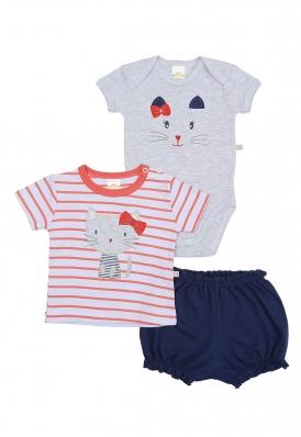 Kit 3 Peças Body, Camiseta E Shorts Best Club Baby Branco, Vermelho E Marinho Com Bordado Gato