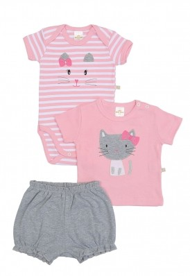 Kit 3 Peças Body, Camiseta E Shorts Best Club Baby Cinza E Rosa Com Bordado Gato