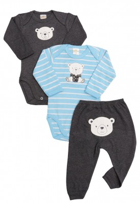 Kit 3 peças body e calça Best Club Baby listrado azul claro com creme e grafite com bordado urso