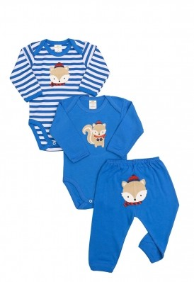 Kit 3 peças body e calça Best Club Baby listrado branco com azul com bordado esquilo