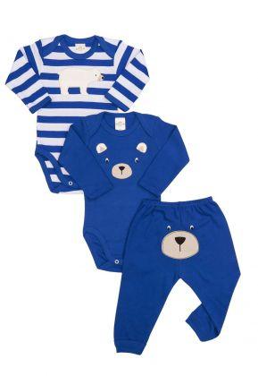Kit 3 peças body e calça Best Club Baby listrado branco e azul com bordado urso