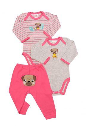 Kit 3 peças body e calça Best Club Baby listrado pink e cinza claro com bordado cachorro