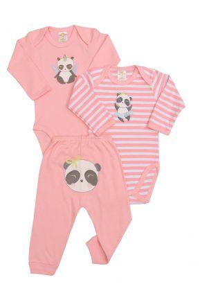 Kit 3 peças body e calça Best Club Baby listrado rosa  e branco com bordado panda