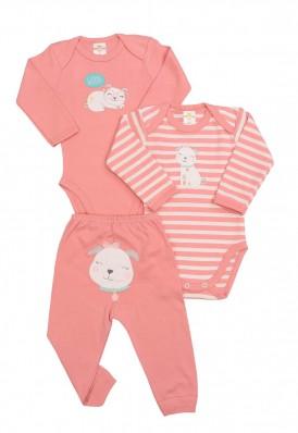 Kit 3 peças body e calça Best Club Baby listrado rosa goiaba e creme com bordado cachorro