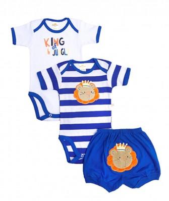 Kit 3 peças body e shorts Best Club Baby azul e branco bordado leão