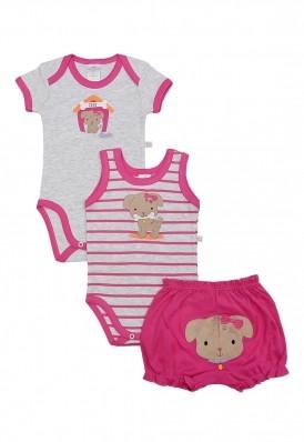 Kit 3 peças body e shorts Best Club Baby cinza claro e pink bordado cachorro
