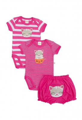 Kit 3 peças body e shorts Best Club Baby pink bordado gato