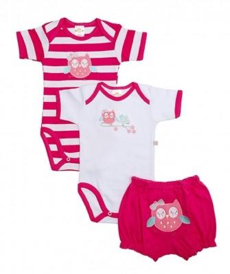 Kit 3 peças body e shorts Best Club Baby pink e branco bordado coruja