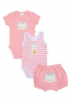 Kit 3 peças body e shorts Best Club Baby rosa claro e branco bordado gato