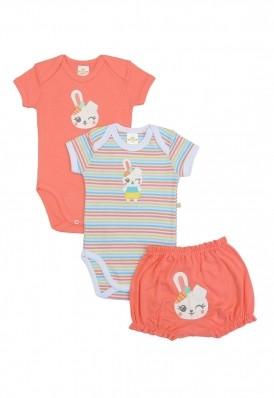 Kit 3 peças body e shorts Best Club Baby rosa goiaba e branco bordado coelho