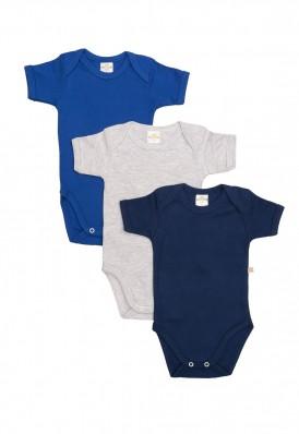 Kit 3 Peças Body Manga Curta Best Club Baby azul marinho, azul e cinza claro