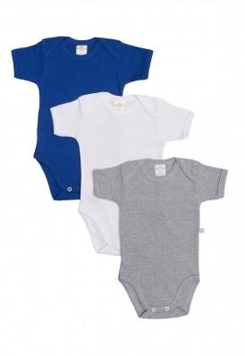 Kit 3 Peças Body Manga Curta Best Club Baby cinza, azul e branco