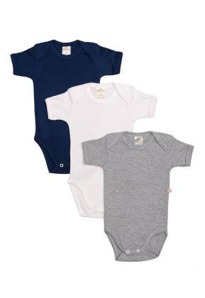 Kit 3 Peças Body Manga Curta Best Club Baby cinza, azul marinho e branco