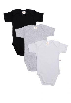 Kit 3 Peças Body Manga Curta Best Club Baby cinza claro, preto e branco