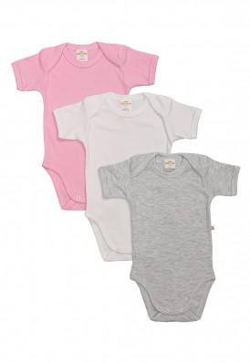 Kit 3 Peças Body Manga Curta Best Club Baby cinza claro, rosa claro e branco
