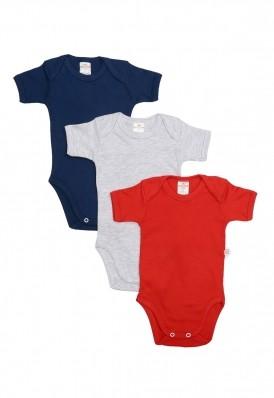 Kit 3 Peças Body Manga Curta Best Club Baby cinza claro, vermelho e azul marinho