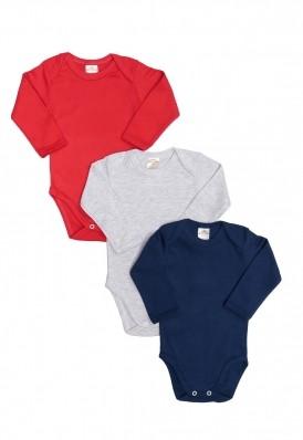 Kit 3 Peças Body Manga Longa Best Club Baby cinza claro, vermelho e azul marinho