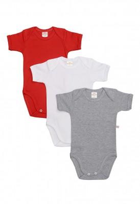 Kit 3 Peças Body Manga Curta Best Club Baby cinza, vermelho e branco