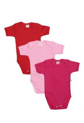 Kit 3 Peças Body Manga Curta Best Club Baby vermelho, rosa claro e pink