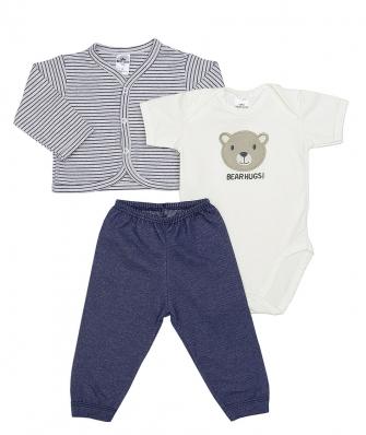 Kit 3 peças body manga curta, calça e casaco Best Club Baby listrado mesclado cinza claro com azul jeans com bordado urso
