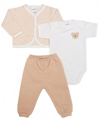 Kit 3 peças body manga curta, calça e casaco plush Best Club Baby listrado creme e areia com bordado urso