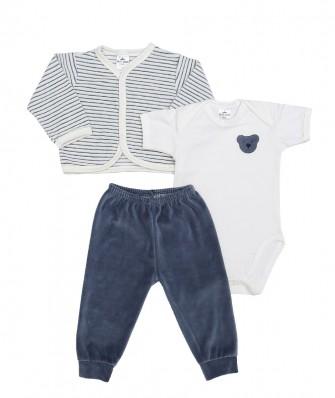 Kit 3 peças body manga curta, calça e casaco plush Best Club Baby listrado creme e azul com bordado urso