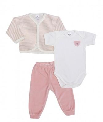 Kit 3 peças body manga curta, calça e casaco plush Best Club Baby listrado creme e rosa claro com bordado urso
