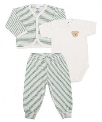 Kit 3 peças body manga curta, calça e casaco plush Best Club Baby listrado creme e verde com bordado urso