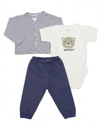 Kit 3 peças body manga curta, calça e casaco plush Best Club Baby listrado mesclado cinza claro com azul jeans com bordado urso