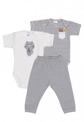 Kit 3 peças body manga curta e calça Best Club Baby off white e cinza mescla com bordado gato
