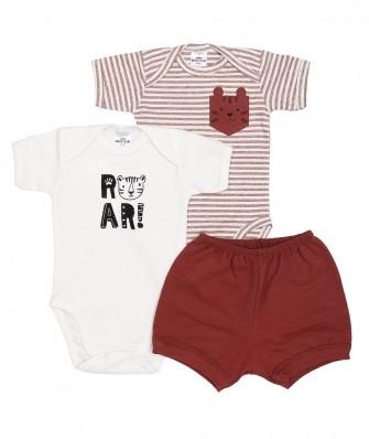Kit 3 peças body manga curta e shorts Best Club Baby off white e ferrugem com bordado tigre