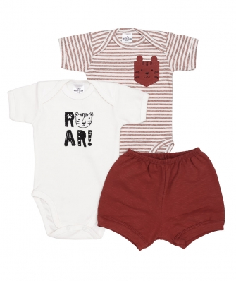 Kit 3 peças body manga curta e shorts Best Club Baby off white e ferrugem com bordado tigre