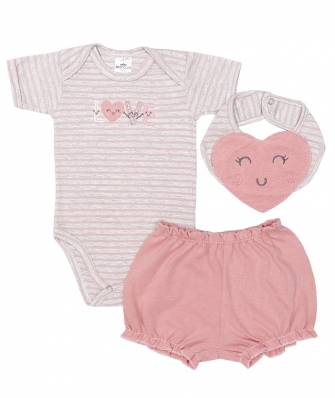 Kit 3 peças body manga curta, shorts e babador Best Club Baby mescla claro e rosa com bordado love