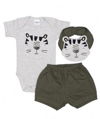 Kit 3 peças body manga curta, shorts e babador Best Club Baby mescla claro e verde com bordado tigre