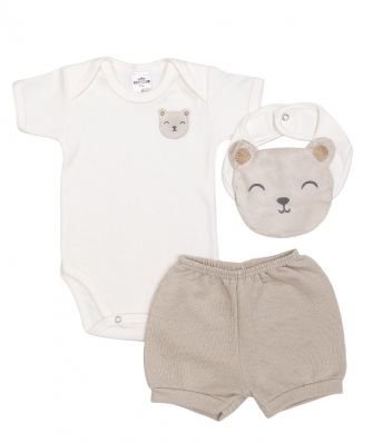 Kit 3 peças body manga curta, shorts e babador Best Club Baby off white com bordado urso